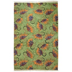 20th Century Green Orange Blue Multi-Color Abstract Zeki Muran Rug, circa 1960