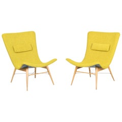20th Century, Green Pair of Beech Armchairs, Czechia, 1950s, Completely Restored