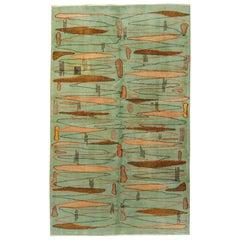 20th Century Green Pink Brown Turkish Art Deco Rug Designed Zeki Muren, ca 1950