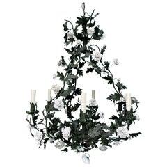 20th Century Louis XV Style Green Tole Six Light Chandelier, Porcelain Flowers