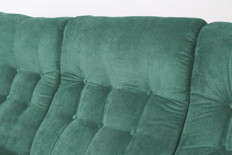 Czech 20th Century Green Velvet Atlantis Sofa, 1960s For Sale