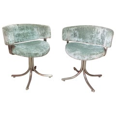 20th Century Green Velvet Pair of Chromed Metal Armchairs, 1960s