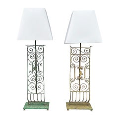 20th Century Green, Yellow French Pair of Similar Tall Metal Table, Desk Lamps