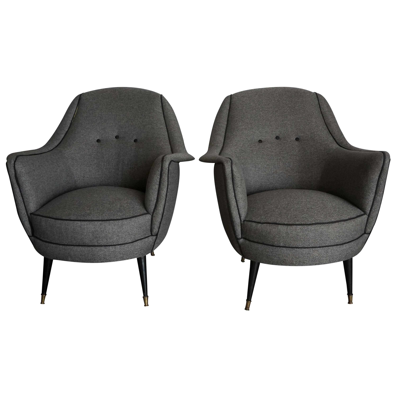 20th Century Grey Italian Lounge Chairs