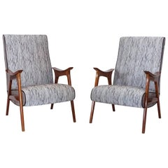 20th Century Grey Pair of Scandinavian Lounge Chairs, Danish Corner Chairs