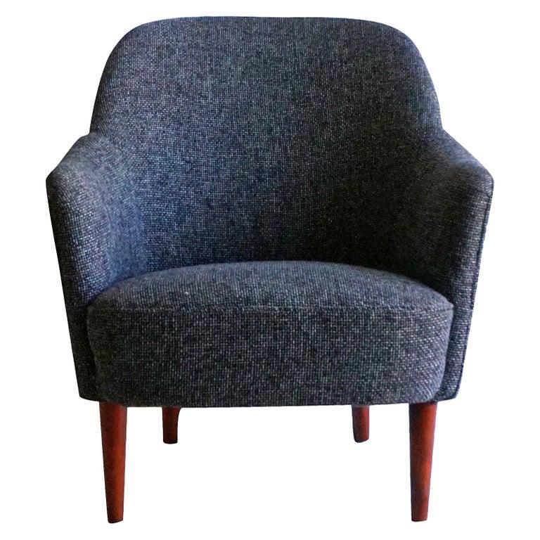 20th Century Grey Samspel Easy Chair by Carl Malmsten, Swedish Side Chair For Sale