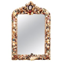 20th Century Grotto Style Shell and Crystal Wall Mirror
