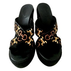 20th Century Gucci Silk Horsebit Raffia Wedge Platform Sandals