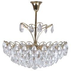 20th Century Guilded Crystal Brass Chandelier by Palwa Large Pendant Lamp
