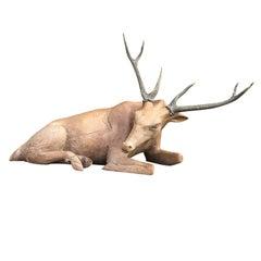 20th Century Hand-Carved Deer, Real Antlers