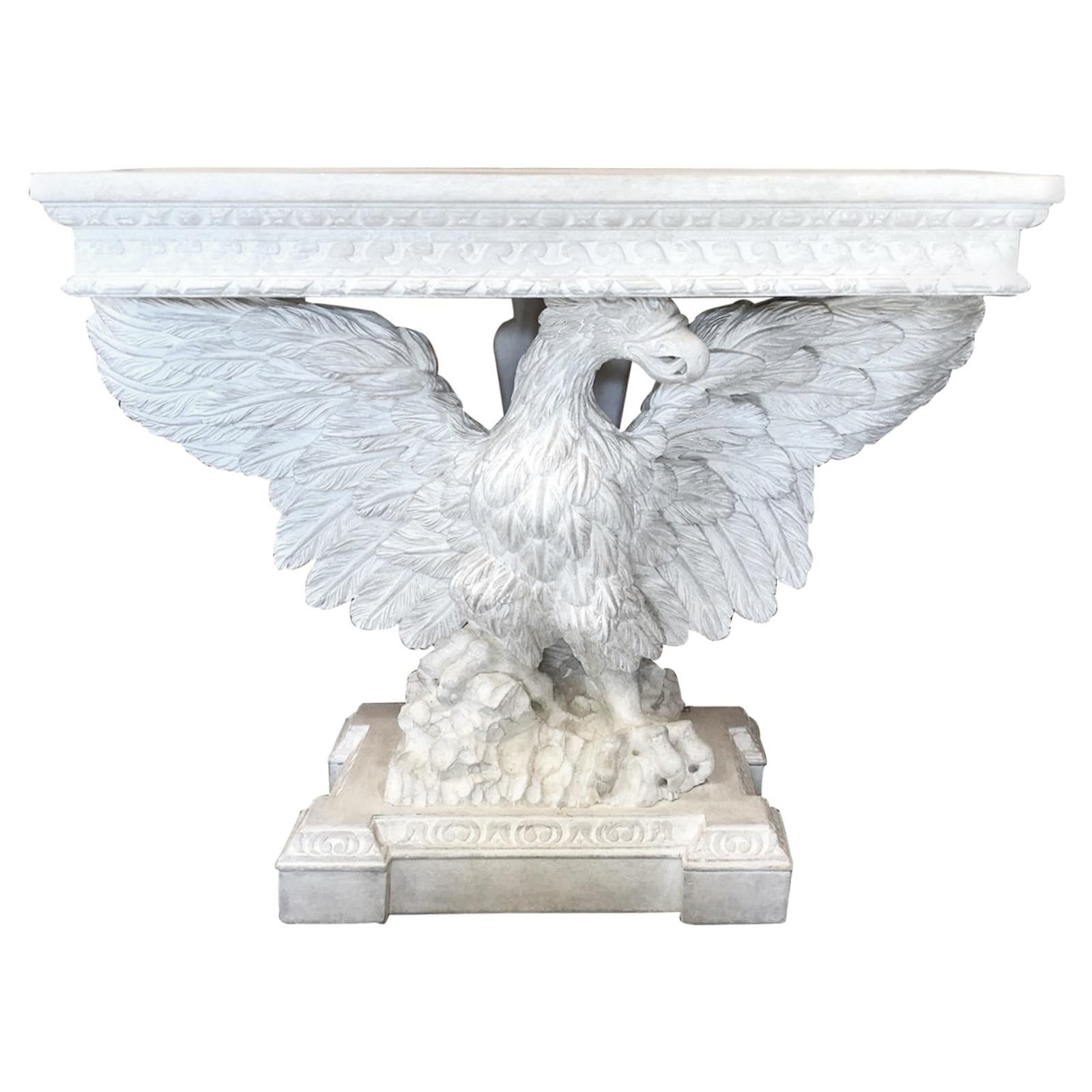 20th Century Georgian Style Pine Carved Eagle Console with Custom Painted Finish