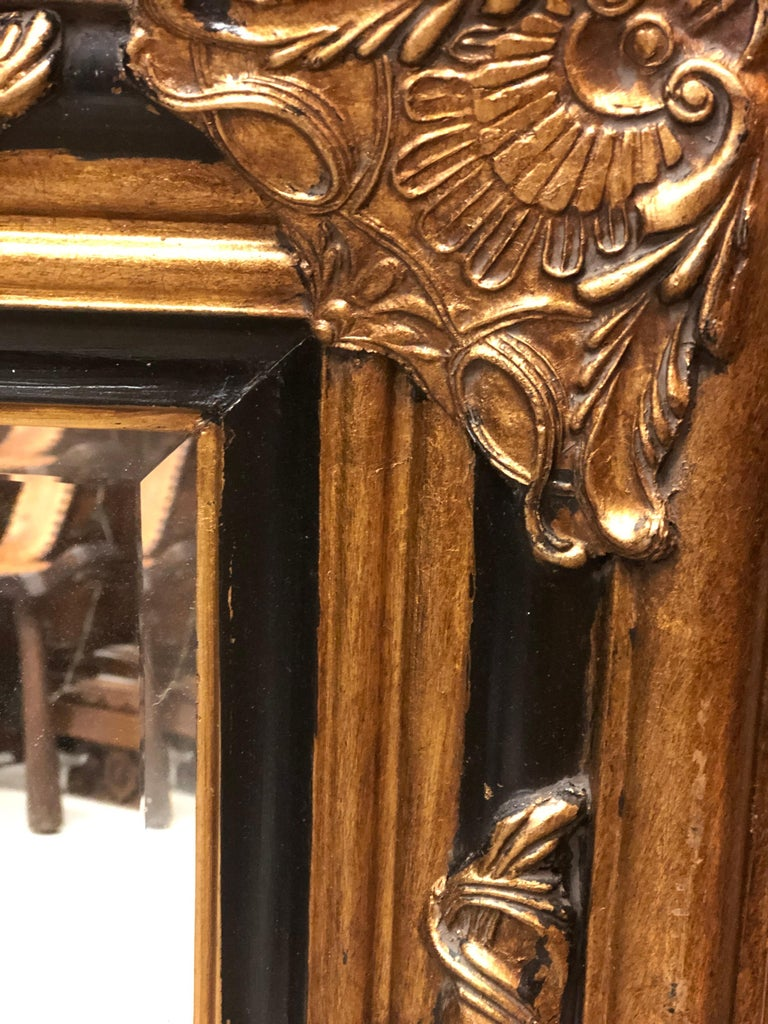 French 20th Century Hand Carved Giltwood Crystal Mirror in Louis XV Style For Sale