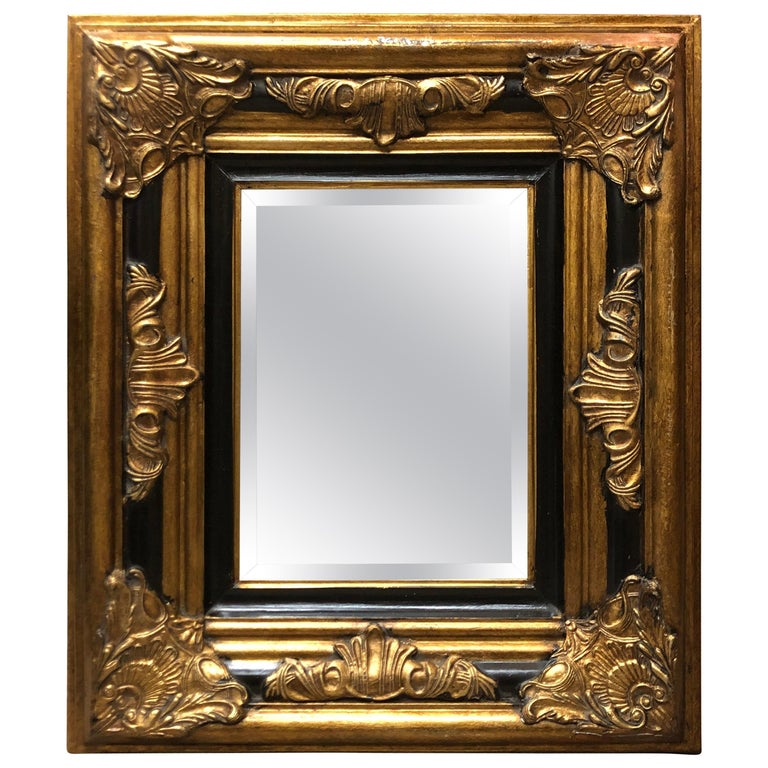 20th Century Hand Carved Giltwood Crystal Mirror in Louis XV Style For Sale