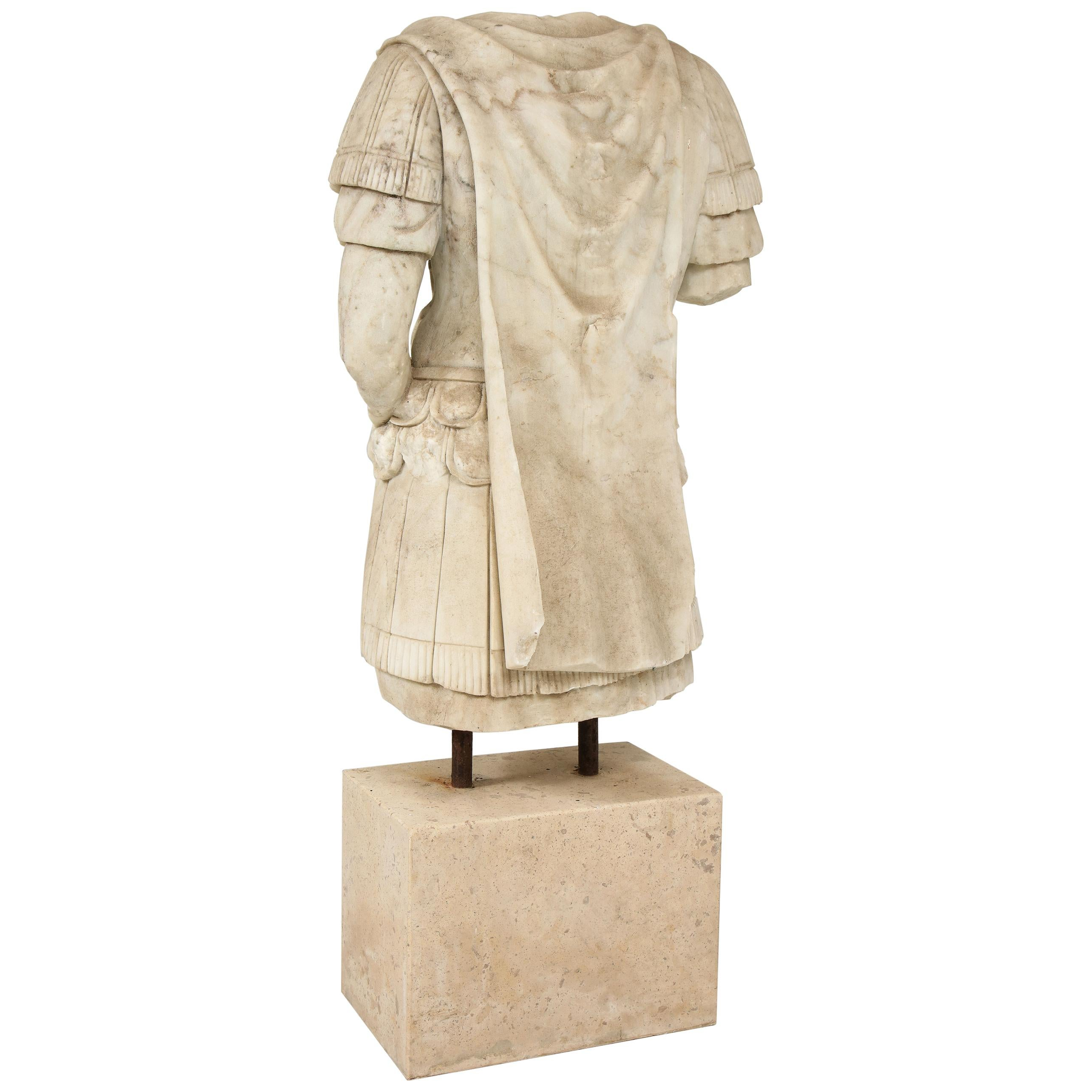20th Century Hand Carved Marble Sculpture of Roman Soldier