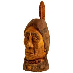 20th Century Hand Carved Wood Bust Native American Sculpture by Duane Hansen