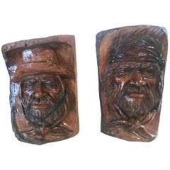 20th Century Hand Carved Wood Folk Art Carvings / Bookends
