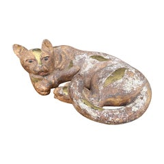 20th Century Hand Carved Wooden Lounging Cat with Splashes of Gilt