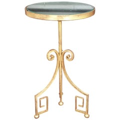 20th Century Hand Forged Gilded Table with Antiqued Mirrored Glass Top