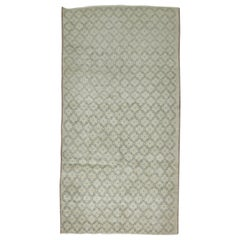 20th Century Hand Knotted Neutral Color Vintage Turkish Runner