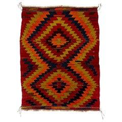 20th Century Hand Knotted Wool Konya Kilim Orange Brown Turkish Anatolian Rug