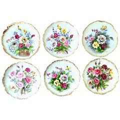 20th Century Hand Painted Porcelain and 22-Karat Gold Plates Set of Six Pieces