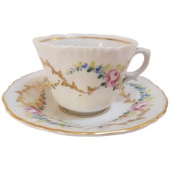 20th Century Hand-Painted Vista Alegre Porcelain Collectible Tea Cup and Saucer