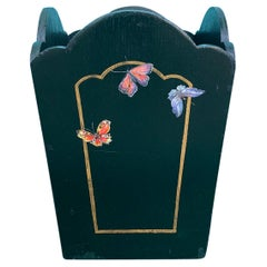 20th Century Hand Painted Wood Butterfly Waste Basket by Hutsons of London
