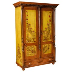 20th Century Hand Painted Wood East European Wardrobe, 1960