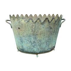 20th Century Handmade Brass & Tole Verdigris Cachepot