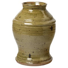 20th Century Handmade Large Stoneware Ceramic Vase Signed FB La Borne