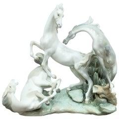 20th Century Handmade Lladro Porcelain Sculpture, Beautiful Horses