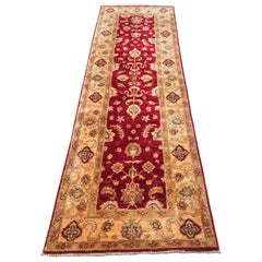 20th Century Handmade Wool Runner with Flowers and Leaves in Garnet, Beige, Gold