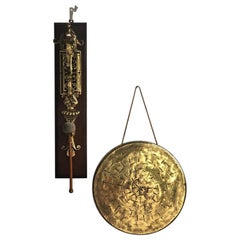 20th Century Hanging Oak and Brass Dinner Gong