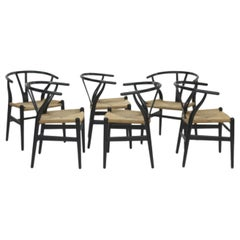 20th Century Hans Jorgen Wegner Set of Six Chairs 'CH24' in Wood and Woven Rope