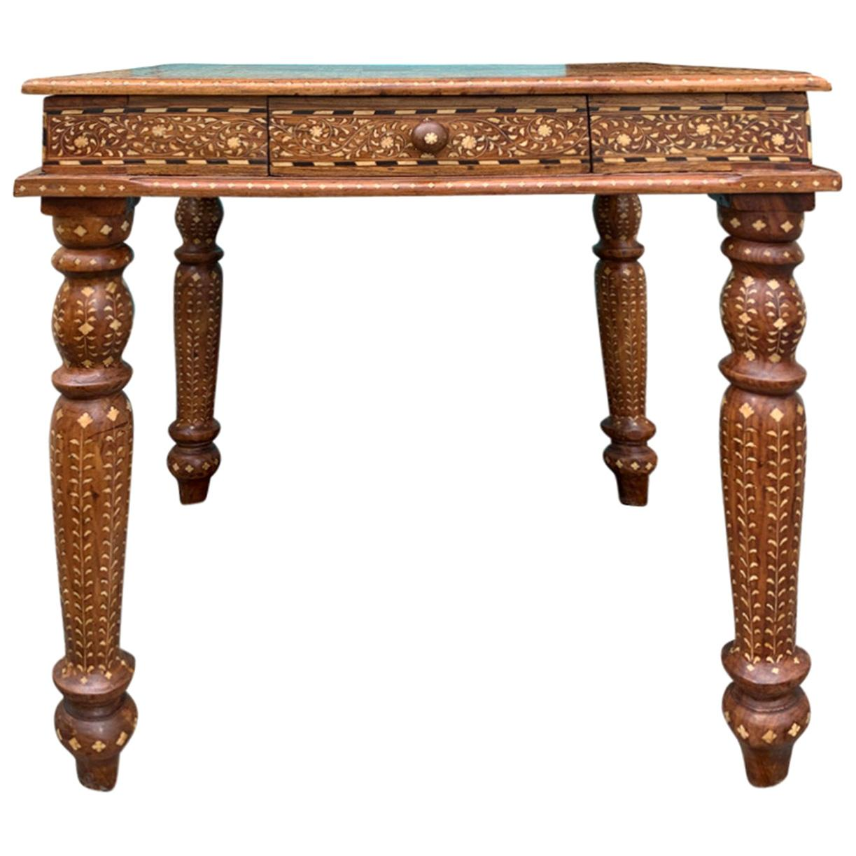 20th Century Heavily Inlaid Teak & Satinwood Square Game Table, Checkerboard Top