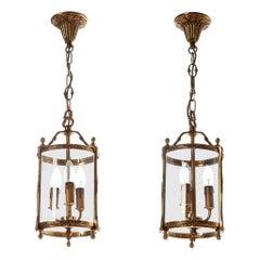 20th Century Heavy Cast Brass & Glass French Lantern