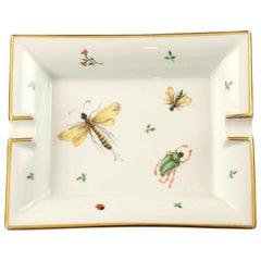 20th Century Hermès Paris Hand Painted Porcelain 2 Rest Ashtray with Gilt Trim