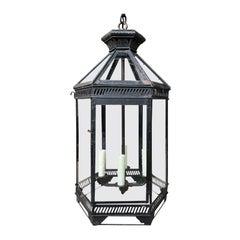 20th Century Hexagonal Black Metal Four-Light Hanging Lantern