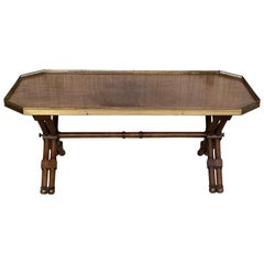 20th Century Hexagonal Coffee Table with Bronze Gallery Top