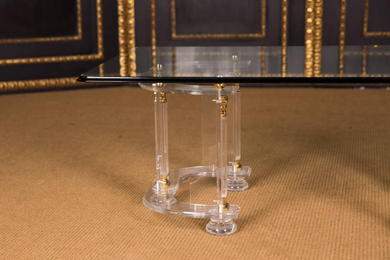 Modern 20th Century High Quality Acrylic Coffee Table with Gold Color For Sale