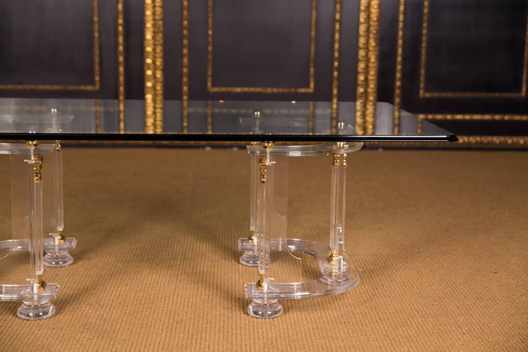 Glazed 20th Century High Quality Acrylic Coffee Table with Gold Color For Sale