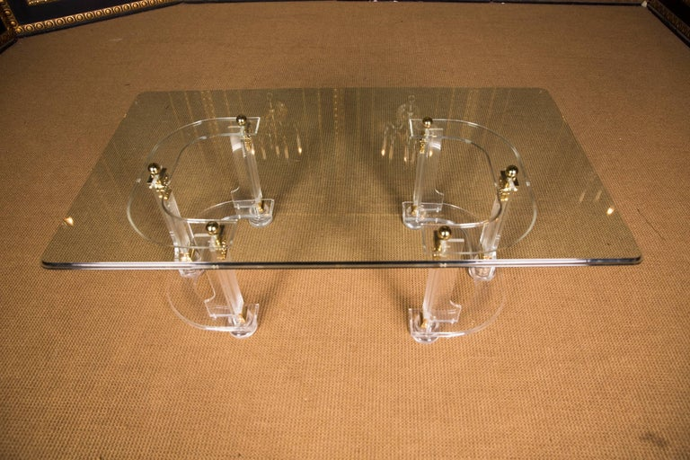 20th Century High Quality Acrylic Coffee Table with Gold Color In Good Condition For Sale In Berlin, DE