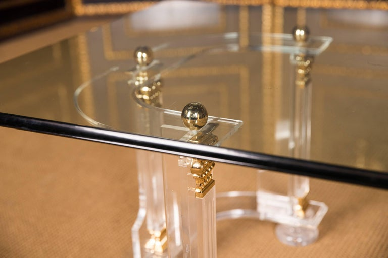 20th Century High Quality Acrylic Coffee Table with Gold Color For Sale 1