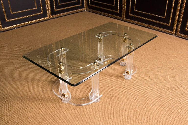 20th Century High Quality Acrylic Coffee Table with Gold Color For Sale 3