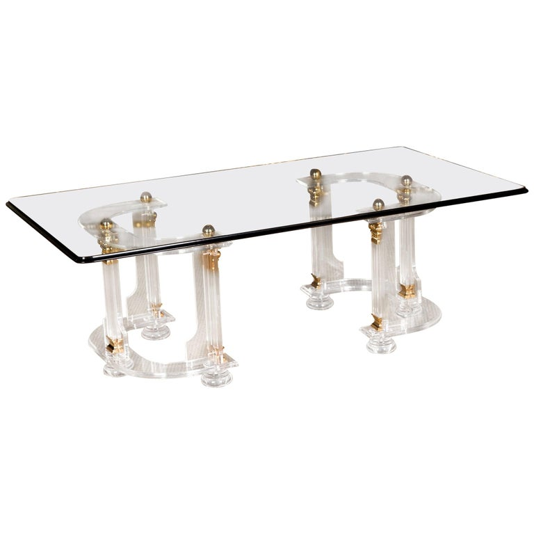 20th Century High Quality Acrylic Coffee Table with Gold Color For Sale