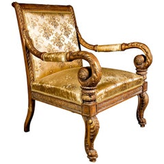 20th Century High Quality Armchair in Empire Style Beechwood