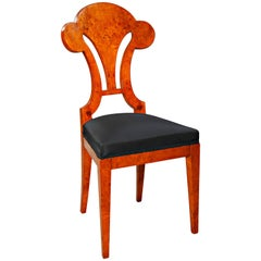 20th Century High Quality Viennese Chair in Biedermeier Style Maple Root Veneer