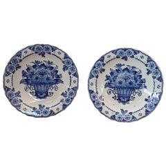 20th Century Holland Ceramic Platters with Blue Floreal Decorations by Delft