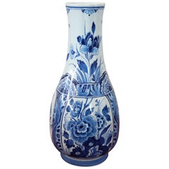 20th Century Holland Ceramic Vase with Blue Floreal Decorations by Delft