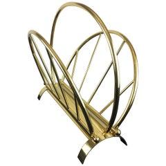 20th Century Hollywood Regency Brass Magazine Rack